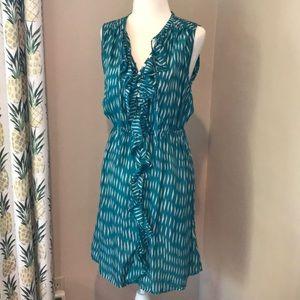 Turquoise Dress Ruffle V-neck